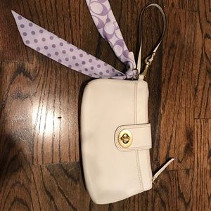Coach white leather wristlet